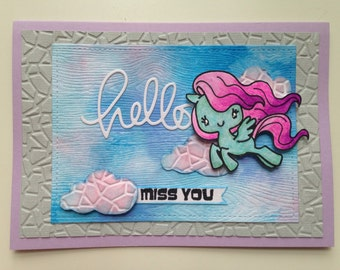 I Miss You handmade card |friends, family, pegasus, horse, cartoon, sparkly, clouds, flying, magical, hello, miss you, purple, blue, pink