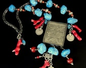 20% WINTER SALE TIBETAN Silver, Coral, and dyed blue Howlite (Faux Turquoise) Pendant necklace inspired by Global Influences // lw30