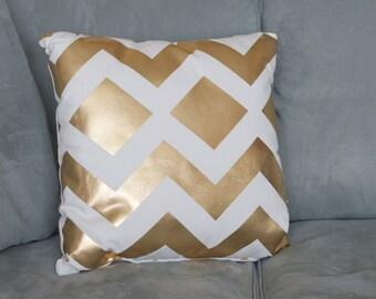 Gold Metallic Chevron Pillow, Gold Pillow, Fall Pillow, Chevron Throw Pillow, Sofa Pillow, Geometric Pillow