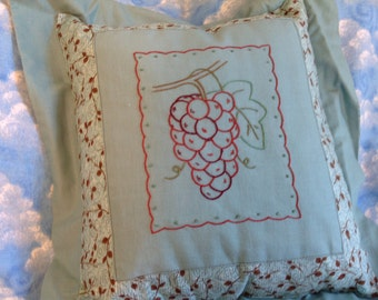 Embroidered  pillow, grape design, hand embroidered pillow, decorative pillow