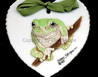 CARD, FROG, Tree Frog, Note card, Frog Decor, Ellen Strope, Frogs, Green, Tree, Greeting Cards