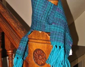 Handwoven wool, silk and merino wool  scarf