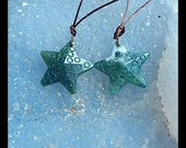 Carved Moss Agate Starfish Earring Bead,20x20x5mm,3.8g