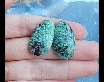 Chrysoprase Gemstone Cabochon Pair,25x14x5mm,5.71g