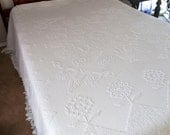Chenille Bedspread, White Chenille Bedspread, Hobnail Chenille, Queen Chenille Bedspread