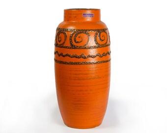Scheurich Vase Fat Lava Glaze Spiral Meander Decor Pop Art Design W. Germany Pottery Ceramic WGP 1960s