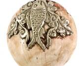 Tibetan Sacred Chank Shell Pendant Silver Fish 105655