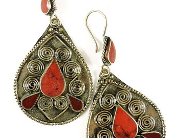 Earrings Silver Red Stone Insets Afghanistan 105065