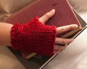 Knit pattern pdf, fingerless gloves, bow