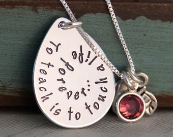 Custom Hand Stamped Necklace - Personalized Jewelry - Sterling Silver Teacher Necklace To teach is... (double sided)