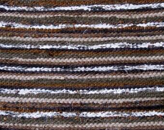 Handwoven rag rug - 1.91' x  2.01'- Dark brown, beige, white , ready for sale