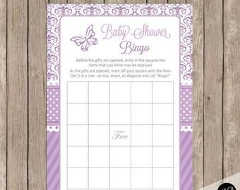 Baby shower bingo, butterfly theme baby shower bingo game, baby shower game, lavender purple baby shower activity, bingo DB01