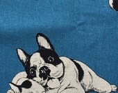 French bulldog printed cute blue colour fabric half yard