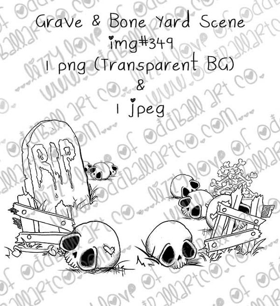 INSTANT DOWNLOAD Creepy Cute Background Scene Digital Stamp - Grave & Bone Yard Scene  Img No.349 by Lizzy Love