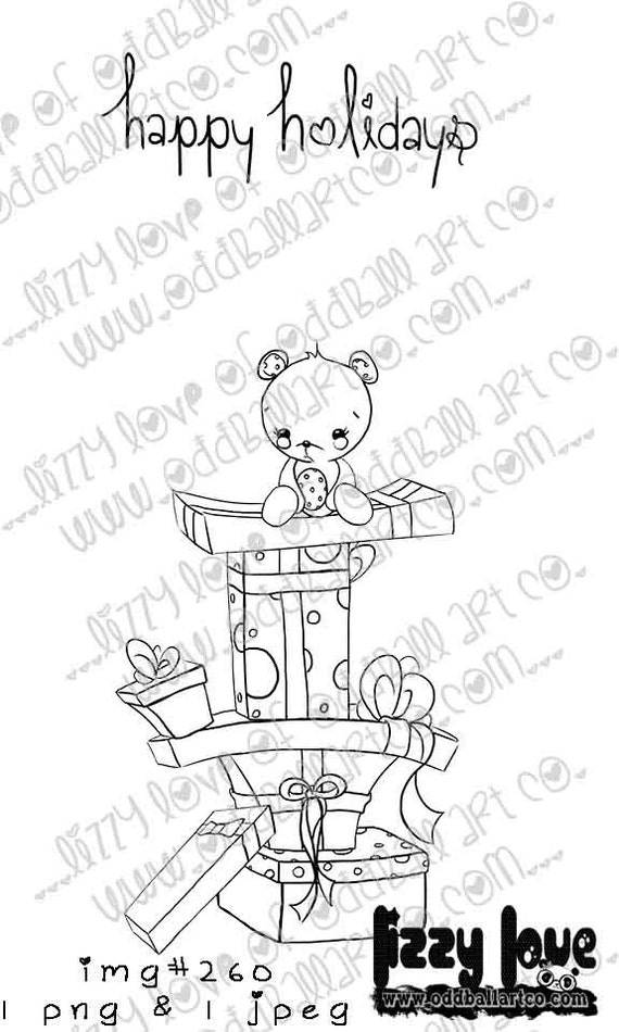 INSTANT DOWNLOAD Digi Stamp Includes Sentiment Kawaii Bear on Stack of Presents ~ Image No.260  by Lizzy Love