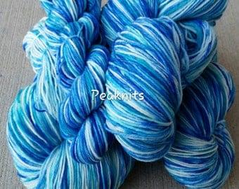 "Hand Dyed Yarn, Sock Weight ~ ""Neptune"" ~ Blue and White Multi Strand 2 Ply Superwash Wool/Nylon Blend, OOAK"