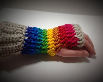 Mittens - Gloves - Fingerless Mittens - Fingerless Gloves - Accessory - Crochet -Smokers Glove - Winter Glove - Rainbow2 Fingerless Gloves