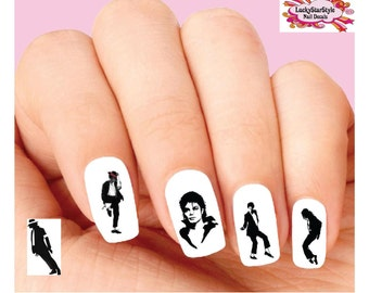 Waterslide Nail Decals Set of 20 - Michael Jackson Silhouette Assorted