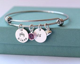 Personalized Bracelet - Charm Bracelet - Quinceanera Bracelet - Sweet 16 Bracelet - Quinceanera - Sweet 16 - Personalized Jewelry - Custom -