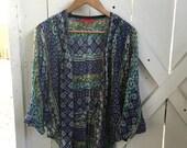 Amazing vintage bohemian indian print dolman sleeve shirt jacket OSFA