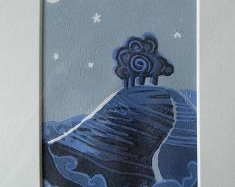 Colmers Hill, Dorset Linocut Art Print
