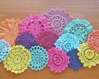 14 Hand Dyed Crochet Doilies, 2 to 4 inch Colorful Vintage Doilies, Rainbow Craft Doilies