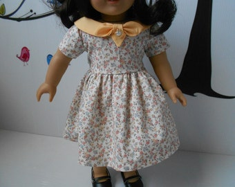 """Doll clothes yellow floral print for American Girl and similar 18"""" dolls hand made"""