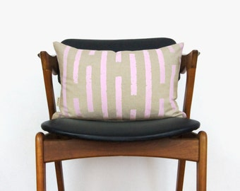 Personalized Decorative Throw Pillow Case | Hand Printed Graphic Striped Pattern | Your Choices: Ink Color, Fabric and Size 12x18, 16x18x20