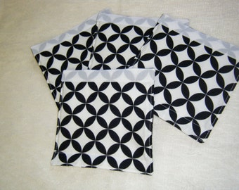 LUGGAGE HANDLE WRAPS Luggage Identifier Tags Black and White Geometric and Stripes  One (1) Each