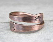 Sun & Moon Copper Ring, Metal Stamp Copper Ring, Copper Wire Ring, Made To Order