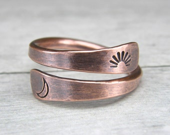 Sun & Moon Copper Ring, Metal Stamped Copper Ring, Copper Wire Ring, Made To Order
