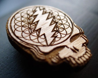 Steal Your Face - Wooden Hat Pin