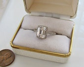 Art Deco Style CZ Sterling Sivler engagement Ring, Size 8