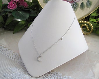 Crescent Moon Star sterling silver necklace, CZ crescent moon and little star necklace