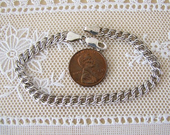 Sterling silver double link charm starter bracelet, 7 inches, 5 mm wide