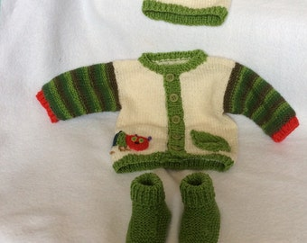 Hungry Caterpillar outfit fit 0-3 months cardigan, booties and hat