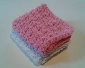 Cloth Pads Reusable, Crocheted Cotton Dishcloths, Washcloths, Set of 2- White and Pink