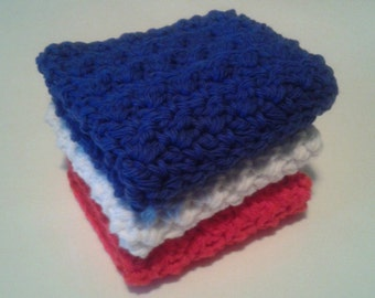 Cloth Pads Reusable, Crocheted Cotton Dishcloths, Washcloths, Set of 3- Red, White and Blue