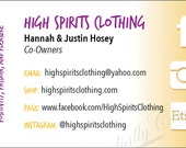 RESERVED for Hannah S: Business Cards re-order for High Spirits Clothing, small business promotional piece, high quality printing