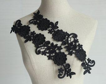 Black Lace Appliques Venice Lace Flower Collars Corsage Costome Decor Lace Patches 1 pair