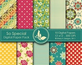 50% Off So Special Paper Pack - 10 Digital papers - 12 x12 - 300 DPI