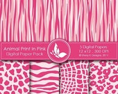 50% off Animal Print In Pink Paper Pack - 5 Printable Digital papers - 12 x12 - 300 DPI