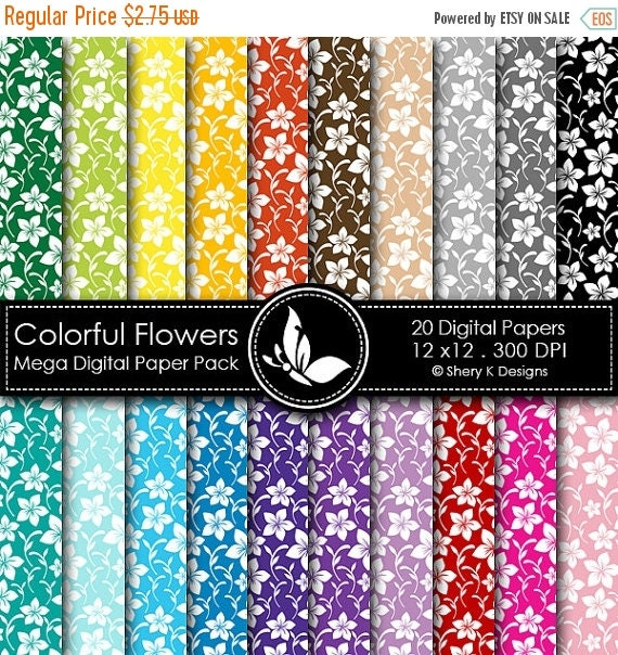 50% off Colorful Flowers Mega Paper Pack - 20 Printable Digital papers - 12 x12 - 300 DPI