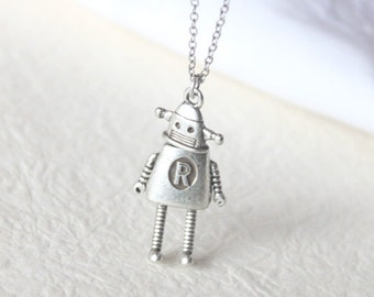 Vintage style Robot Necklace - S2351-1