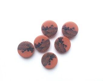 6 Vintage Retro, Countryside, Farm, Rust Orange Vintage Buttons