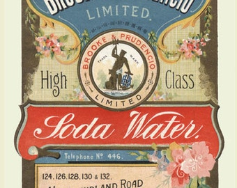 19th Century Brooke & Prudencio Soda Water Antique Reproduction Print from Curious London