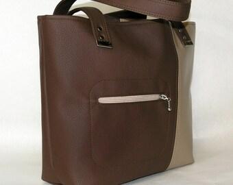 Vegan Carry All Tote Bag Lottie. Purse, Shoulder bag in Chocolate Brown and Coffee. Large vegan tote. Commuter Bag.