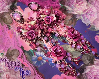 "Ruby Red & Pink Fantasy Rose Chandelier Earrings, 5"" Long Victorian Flower Earrings. Beautiful Hand-Painted Jewelry, Colorful!, Floral"