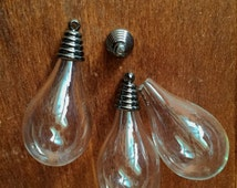 10 Lots  18x32mm  Transparent Glass Wishing Bottle/Bulb  Pendant  with Gunmetal  Caps