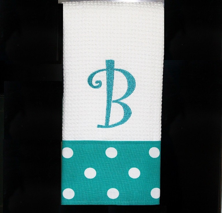 Turquoise Kitchen Towels: Monogrammed Turquoise Dot Kitchen Towel Or Hand Towel